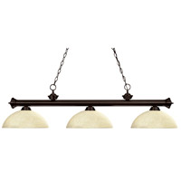 Riviera 3 Light 57 inch Bronze Island Light Ceiling Light in Golden Mottle Dome