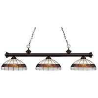 Riviera 3 Light 57 inch Bronze Billiard Ceiling Light in Multi Colored Tiffany Glass (F14-1)