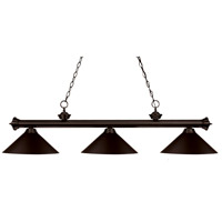 Riviera 3 Light 57 inch Bronze Billiard Ceiling Light in Bronze Metal