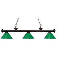 Riviera 3 Light 57 inch Bronze Island Light Ceiling Light in Green Plastic