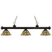 Z-Lite 200-3BRZ-R14A Riviera 3 Light 57 inch Bronze Island Light Ceiling Light in Multi Colored Tiffany Glass (R14A)