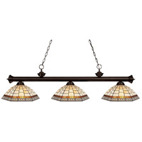 Z-Lite 200-3BRZ-Z14-35 Riviera 3 Light 57 inch Bronze Island Light Ceiling Light in Multi Colored Tiffany Glass (35)