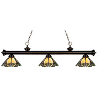 Z-Lite 200-3BRZ-Z14-37 Riviera 3 Light 57 inch Bronze Island Light Ceiling Light in Multi Colored Tiffany Glass (37)