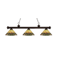 Riviera 3 Light 57 inch Bronze Billiard Light Ceiling Light in Multi Colored Tiffany Glass (49)