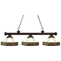 Riviera 3 Light 59 inch Bronze Billiard Ceiling Light in Multi Colored Tiffany Glass (30)
