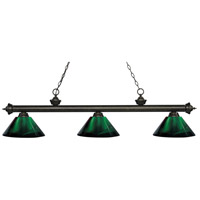 Z-Lite 200-3GB-ARG Riviera 3 Light 57 inch Golden Bronze Island Light Ceiling Light in Acrylic Green