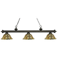 Z-Lite 200-3GB-R14A Riviera 3 Light 57 inch Golden Bronze Island Light Ceiling Light in Multi Colored Tiffany Glass (R14A)