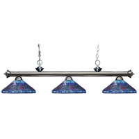 Riviera 3 Light 59 inch Gun Metal Island Light Ceiling Light in Multi Colored Tiffany Glass (D16)