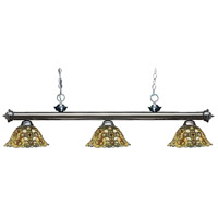 Z-Lite 200-3GM-R14A Riviera 3 Light 57 inch Gun Metal Island Light Ceiling Light in Multi Colored Tiffany Glass (R14A)
