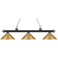 Z-Lite 200-3MB+BN-MSG Riviera 3 Light 57 inch Matte Black and Brushed Nickel Island/Billiard Ceiling Light