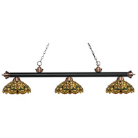 Riviera 3 Light 57 inch Matte Black and Antique Copper Island Light Ceiling Light in Multi Colored Tiffany Glass (C14)