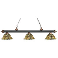 Riviera 3 Light 57 inch Matte Black and Antique Copper Island Light Ceiling Light in Multi Colored Tiffany Glass (R14A)