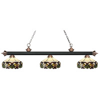 Riviera 3 Light 57 inch Matte Black and Antique Copper Island Light Ceiling Light in Multi Colored Tiffany Glass (33)