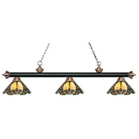 Riviera 3 Light 57 inch Matte Black and Antique Copper Island Light Ceiling Light in Multi Colored Tiffany Glass (37)