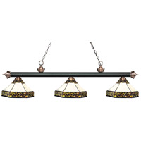 Riviera 3 Light 59 inch Matte Black and Antique Copper Island Light Ceiling Light in Multi Colored Tiffany Glass (30)