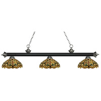 Riviera 3 Light 56 inch Matte Black and Brushed Nickel Island Light Ceiling Light in Multi Colored Tiffany Glass (C14)