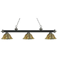 Riviera 3 Light 57 inch Matte Black and Brushed Nickel Island Light Ceiling Light in Multi Colored Tiffany Glass (R14A)
