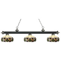 Riviera 3 Light 57 inch Matte Black and Brushed Nickel Island Light Ceiling Light in Multi Colored Tiffany Glass (33)