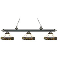Riviera 3 Light 59 inch Matte Black and Brushed Nickel Island Light Ceiling Light in Multi Colored Tiffany Glass (30)