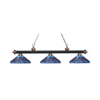 Riviera 3 Light 60 inch Matte Black and Antique Copper Island Light Ceiling Light in Multi Colored Tiffany Glass (D16)