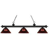 Riviera 3 Light 58 inch Matte Black Island Light Ceiling Light in Acrylic Burgundy