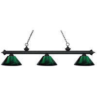 Z-Lite 200-3MB-ARG Riviera 3 Light 58 inch Matte Black Island Light Ceiling Light in Acrylic Green