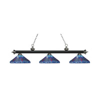 Riviera 3 Light 60 inch Matte Black and Brushed Nickel Island Light Ceiling Light in Multi Colored Tiffany Glass (D16)