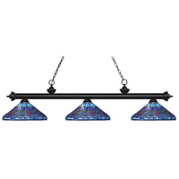 Riviera 3 Light 60 inch Matte Black Island Light Ceiling Light in Multi Colored Tiffany Glass (D16)