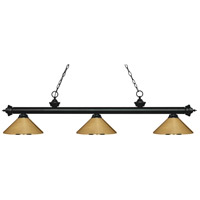 Z-Lite 200-3MB-MPB Riviera 3 Light 57 inch Matte Black Island Light Ceiling Light in Polished Brass Metal