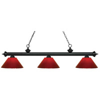 Riviera 3 Light 57 inch Matte Black Island Light Ceiling Light in Red Plastic