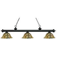 Z-Lite 200-3MB-R14A Riviera 3 Light 57 inch Matte Black Island Light Ceiling Light in Multi Colored Tiffany Glass (R14A)