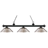 Riviera 3 Light 59 inch Matte Black Island Light Ceiling Light in Stepped Brushed Nickel