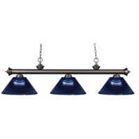 Riviera 3 Light 57 inch Olde Bronze Island Light Ceiling Light in Acrylic Dark Blue