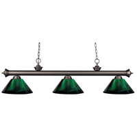 Riviera 3 Light 57 inch Olde Bronze Island Light Ceiling Light in Acrylic Green