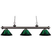 Z-Lite 200-3OB-ARG Riviera 3 Light 57 inch Olde Bronze Island/Billiard Ceiling Light in Green Acrylic 10.65