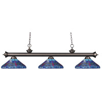 Riviera 3 Light 59 inch Olde Bronze Island Light Ceiling Light in Multi Colored Tiffany Glass (D16)