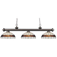 Riviera 3 Light 57 inch Olde Bronze Billiard/Island Ceiling Light in Multi Colored Tiffany Glass (F14-1)