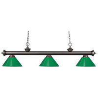 Riviera 3 Light 57 inch Olde Bronze Island Light Ceiling Light in Green Plastic