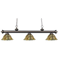 Z-Lite 200-3OB-R14A Riviera 3 Light 57 inch Olde Bronze Island Light Ceiling Light in Multi Colored Tiffany Glass (R14A)