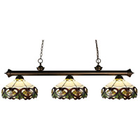 Z-Lite 200-3OB-Z14-33 Riviera 3 Light 57 inch Olde Bronze Island Light Ceiling Light in Multi Colored Tiffany Glass (33)