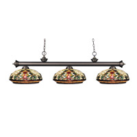 Riviera 3 Light 57 inch Olde Bronze Billiard Ceiling Light in Multi Colored Tiffany Glass (34)
