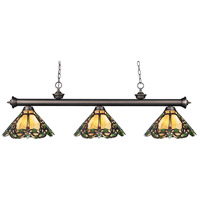 Riviera 3 Light 57 inch Olde Bronze Billiard Ceiling Light in Multi Colored Tiffany Glass (37)