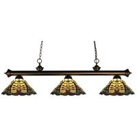 Riviera 3 Light 57 inch Olde Bronze Billiard Light Ceiling Light in Multi Colored Tiffany Glass (46)