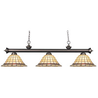 Riviera 3 Light 57 inch Olde Bronze Billiard/Island Ceiling Light in Multi Colored Tiffany Glass (Z14)