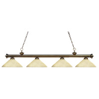 Z-Lite 200-4AB-AGM14 Riviera 4 Light 80 inch Antique Brass Island Light Ceiling Light in Golden Mottle Angular