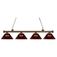 Riviera 4 Light 80 inch Antique Brass Island Light Ceiling Light in Acrylic Burgundy
