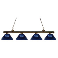 Z-Lite 200-4AB-ARDB Riviera 4 Light 80 inch Antique Brass Island Light Ceiling Light in Acrylic Dark Blue