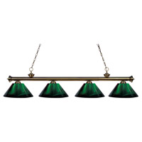 Riviera 4 Light 80 inch Antique Brass Island Light Ceiling Light in Acrylic Green
