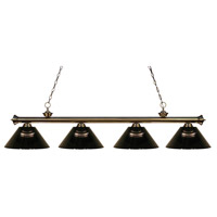 Z-Lite 200-4AB-ARS Riviera 4 Light 80 inch Antique Brass Island Light Ceiling Light in Acrylic Smoke