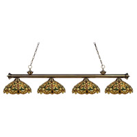 Riviera 4 Light 80 inch Antique Brass Island Light Ceiling Light in Multi Colored Tiffany Glass (C14)